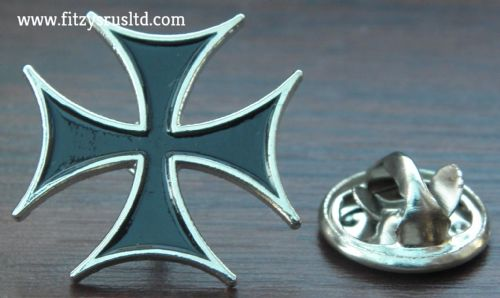 Maltese Cross Lapel Hat or Tie Pin Badge Brooch - Iron cross Amalfi Malta